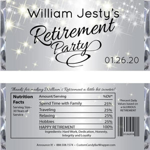 Silver Sparkly Retirement Candy Bar Wrappers