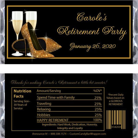 Gold Glitter Shoes Retirement Candy Bar Wrappers