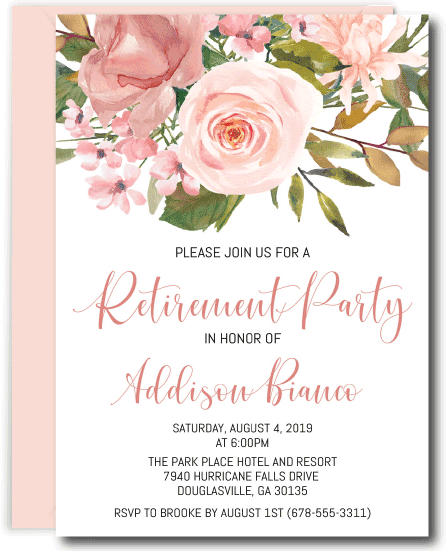 Rose Gold and Blush Retirement Invitations