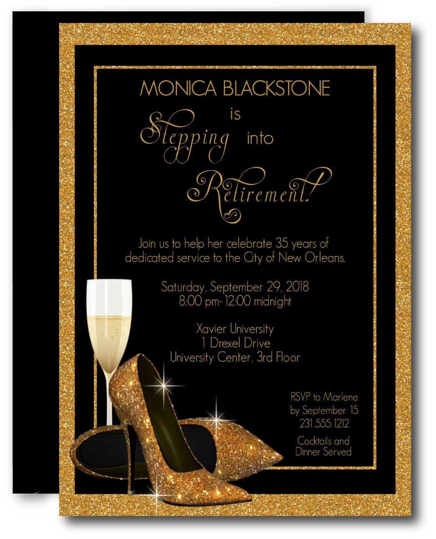 Gold Shoes Retirement Invitation