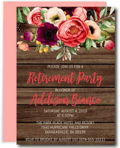 Rustic Floral Retirement Invitations