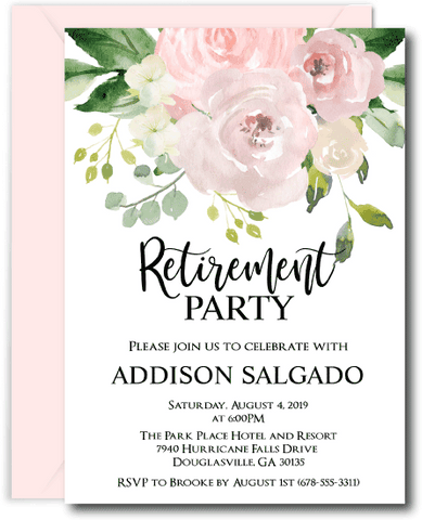 Blush Floral Retirement Invitations