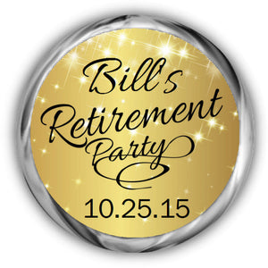 Sparkly Gold Retirement Kisses Stickers