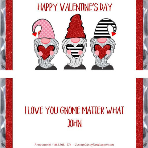 Gnomes Valentine's Day Candy Bar Wrappers