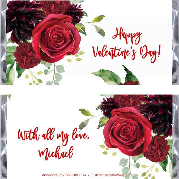 Roses Valentine's Day Candy Bar Wrappers