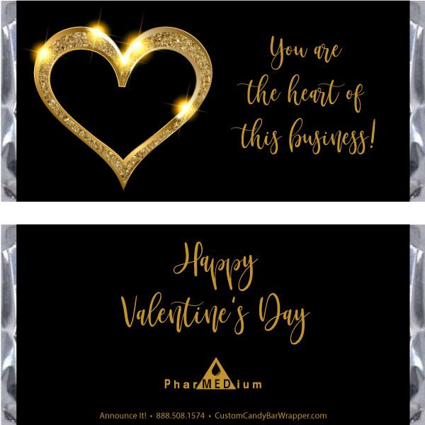 Gold Heart Valentine's Day Candy Bar Wrappers
