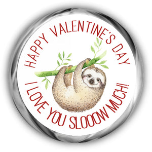Sloth Valentine's Day Kisses Stickers