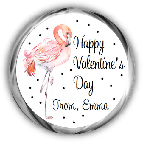 Flamingo Valentine's Day Kisses Stickers