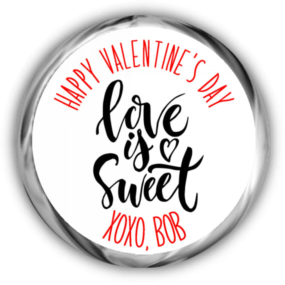 Love is Sweet Valentines Kisses Stickers