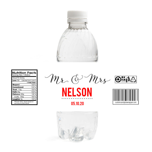 Mr and Mrs Wedding Water Bottle Labels