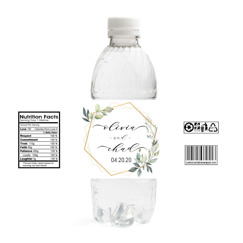 Wreath Wedding Bottle Label