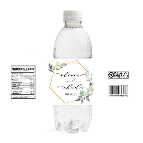 Wreath Wedding Water Bottle Labels