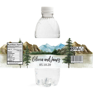 Mountain Lake Wedding Water Bottle Labels