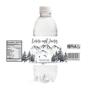 Mountains Wedding Water Bottle Labels