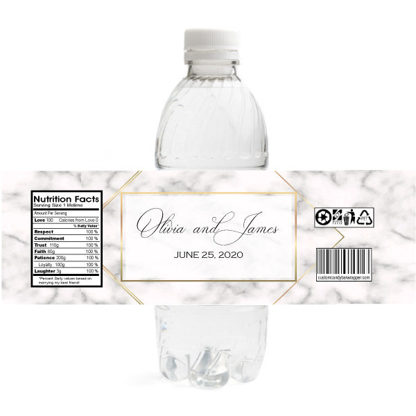 Marble Wedding Water Bottle Labels