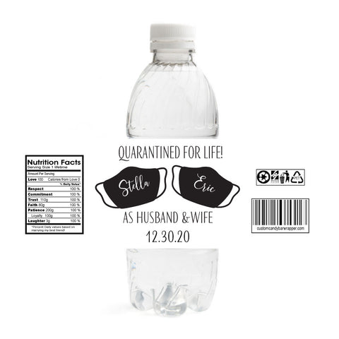 Quarantine Wedding Water Bottle Labels