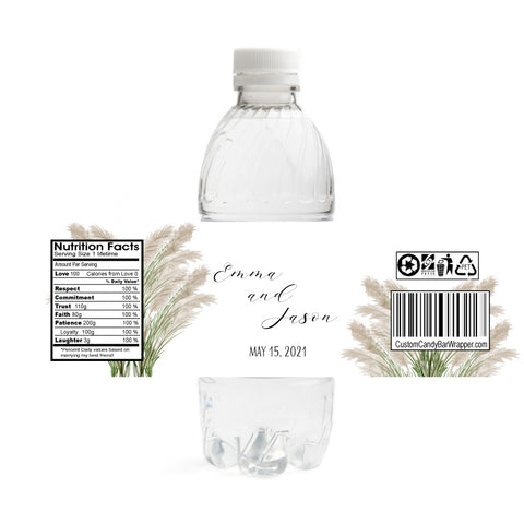 Pampas Grass Wedding Water Bottle Labels