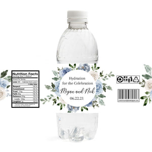 Dusty Blue Wedding Water Bottle Labels