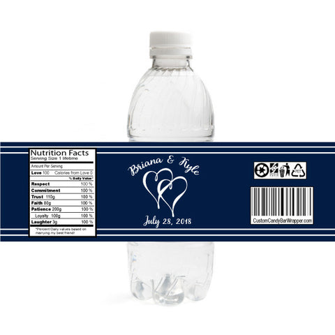 Flowing Hearts Wedding Bottle Label