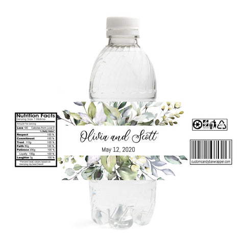 Greenery Wedding Water Bottle Labels