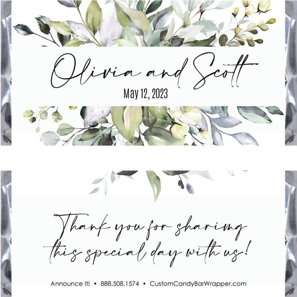 Leafy Greenery Wedding Candy Bar Wrappers