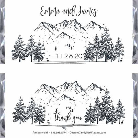 Winter Forest Wedding Candy Bar Wrappers