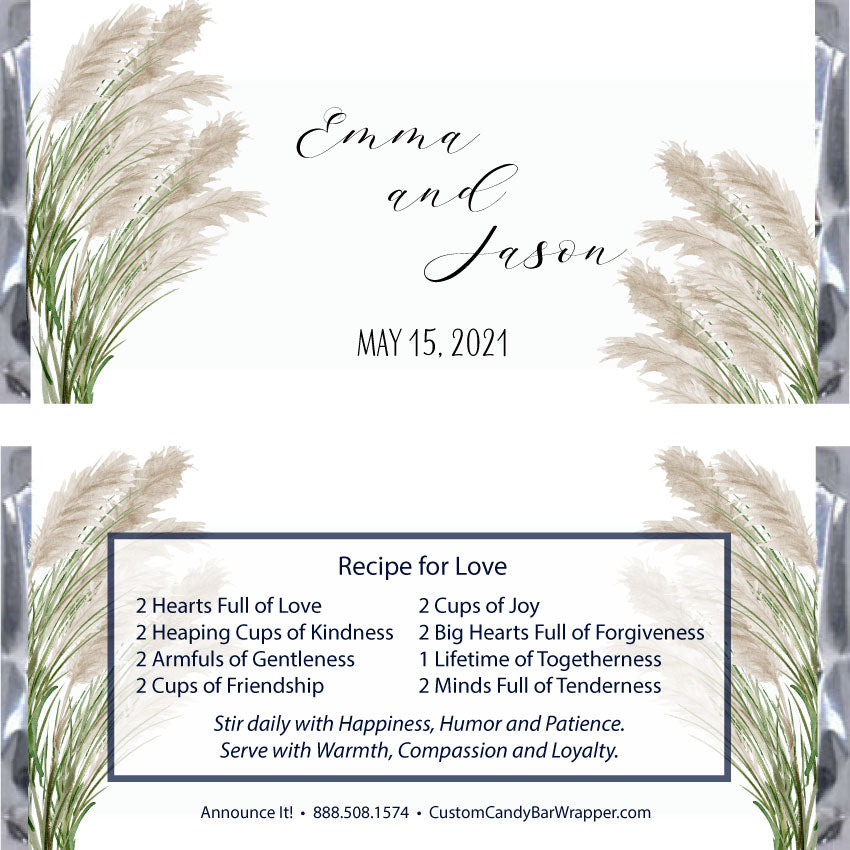 Pampas Grass Wedding Candy Bar Wrappers