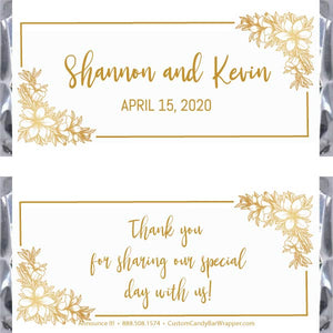 Classic Floral Wedding Candy Bar Wrappers