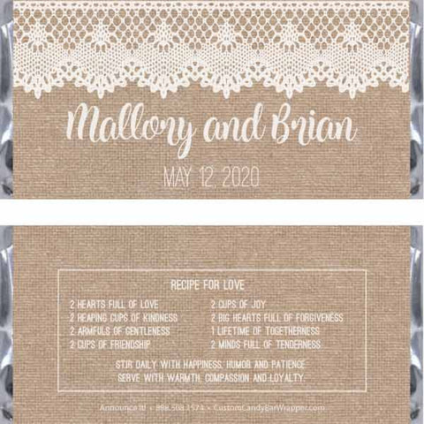 Burlap and Lace Wedding Candy Bar Wrappers
