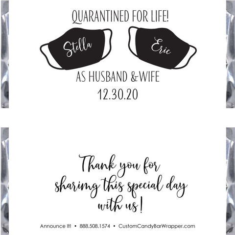Quarantined for Life Wedding Candy Bar Wrappers