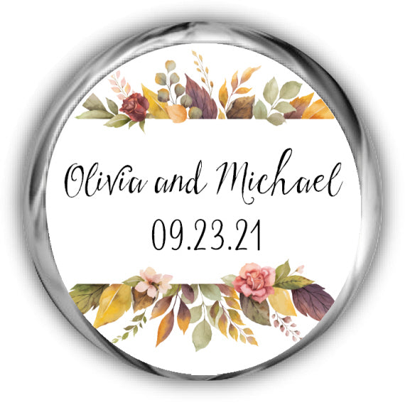 Fall Leaves Wedding Kisses Stickers