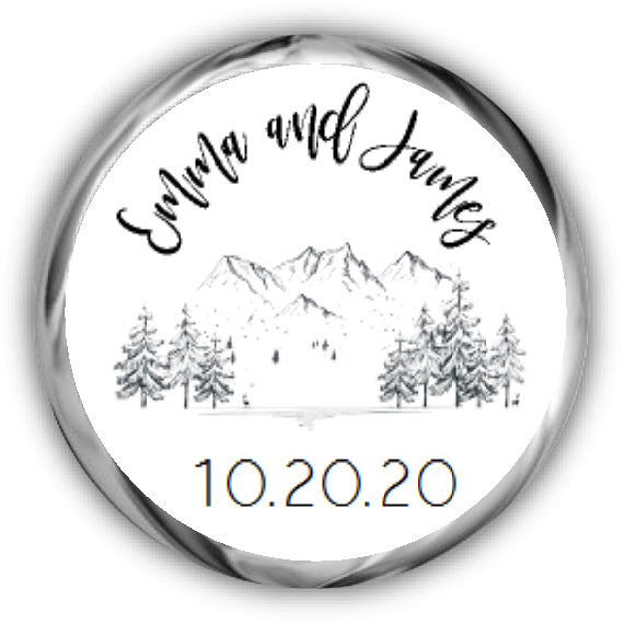 Mountain Wedding Kisses Stickers