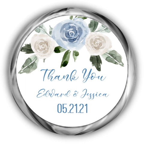 Dusty Blue Wedding Kisses Stickers