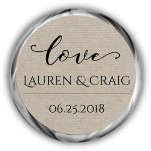 Kraft Wedding Kisses Sticker
