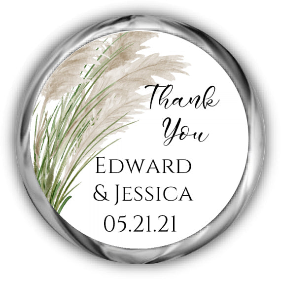 Pampas Grass Wedding Kisses Stickers