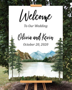 Rustic Mountain Lake Wedding Welcome Sign