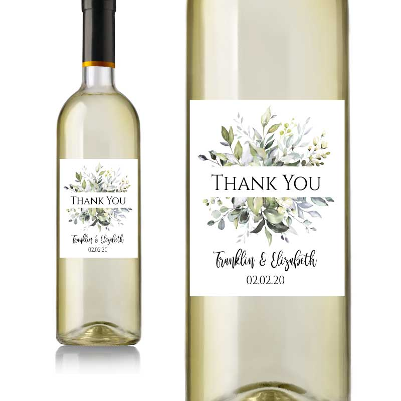 Greenery Wedding Wine Labels
