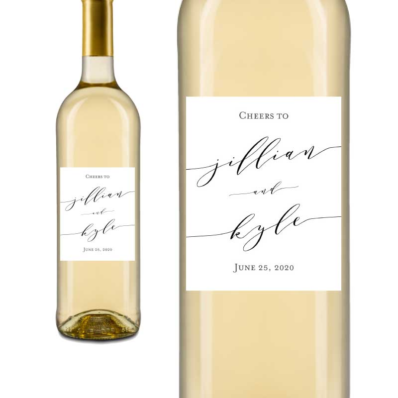 Calligraphy Wedding Wine Labels