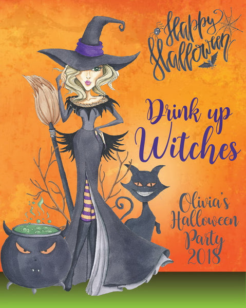 Drink up Witches Halloween Wine Labels