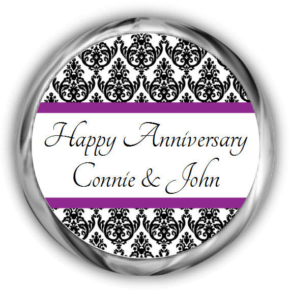 Damask Anniversary Kisses Stickers