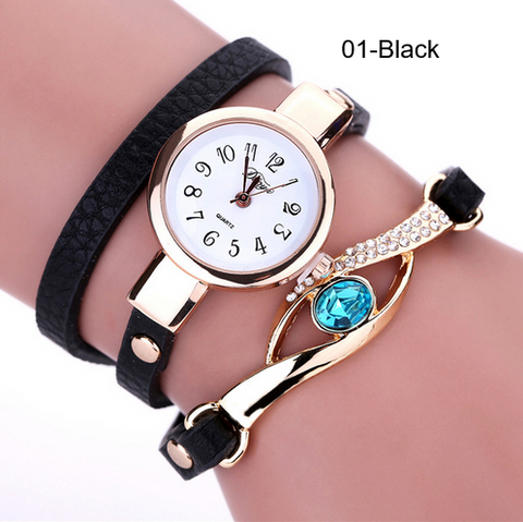 Bracelet Watch-Ladies Gold Bracelet Quartz Watch Eye Gemstone PU Leather
