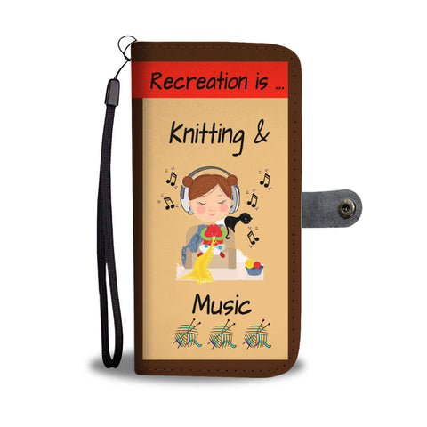 Knitting is music wallet phone case