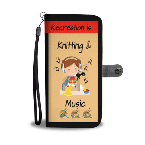 KNITTING IS MUSIC BLACK WALLET PHONE CASE