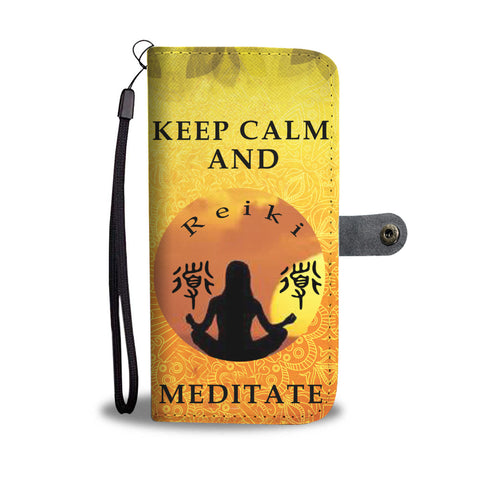 Keep Calm Meditate wallet phone case