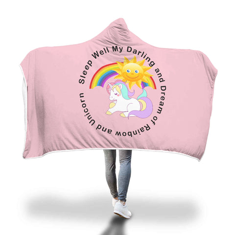 Rainbow and Unicorn Hooded Blanket