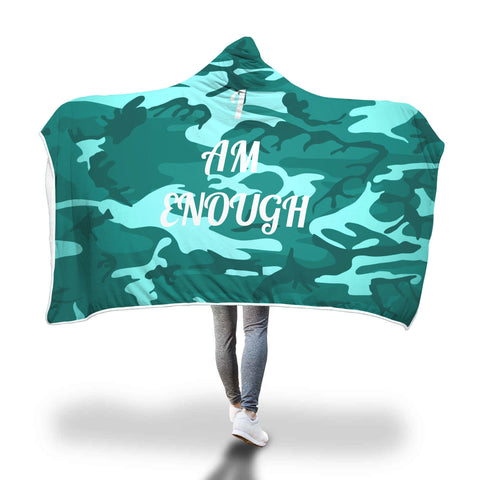I Am Enough Camo Green Hooded Blanket