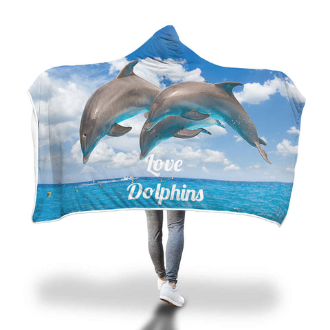 Dolphins Lover Hooded Blanket