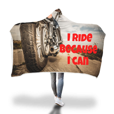 I Ride Motorbike Hooded Blanket