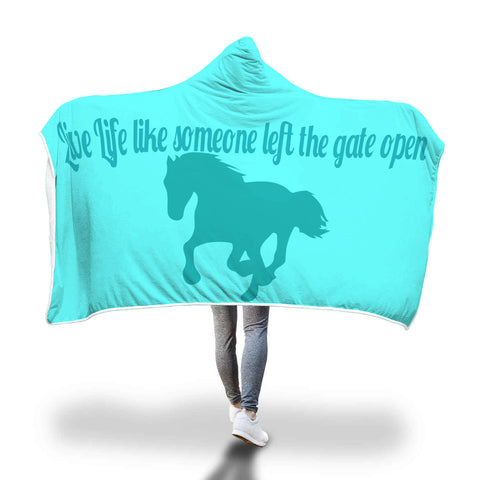 Live Life Horse Lovers Hooded Blanket