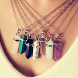 Pendant Necklace-Multi Color Quartz Necklaces Pendant Necklace Chain